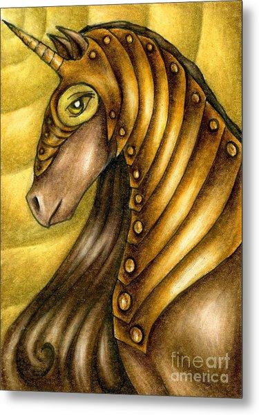 Golden Unicorn Warrior Art Metal Print