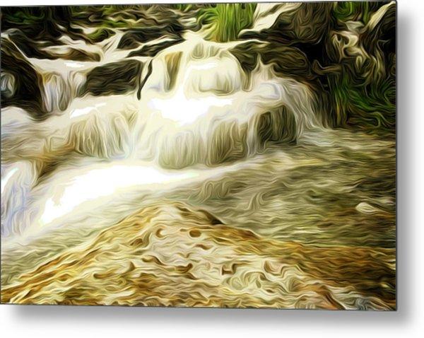 Golden Waterfall Metal Print