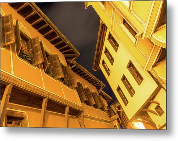 Golden Yellow Night - Chic Zigzags Of Oriel Windows And Serrated Roof Lines Metal Print