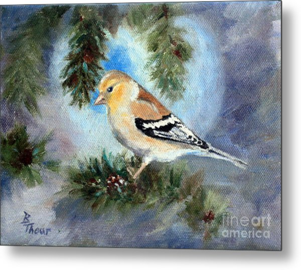 Goldfinch In A Tree Metal Print