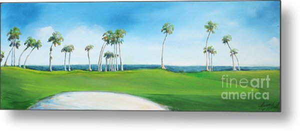 Golf Course With Palms Metal Print by Michele Hollister - for Nancy Asbell