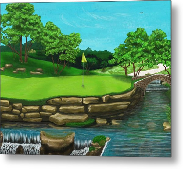 Golf Green Hole 16 Metal Print