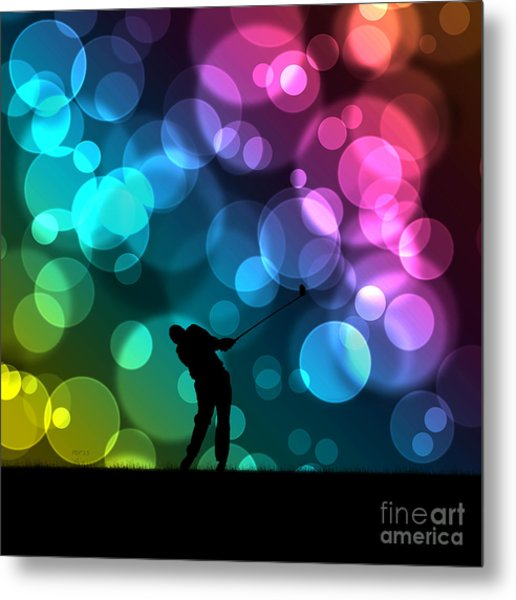 Golfer Driving Bokeh Graphic Metal Print