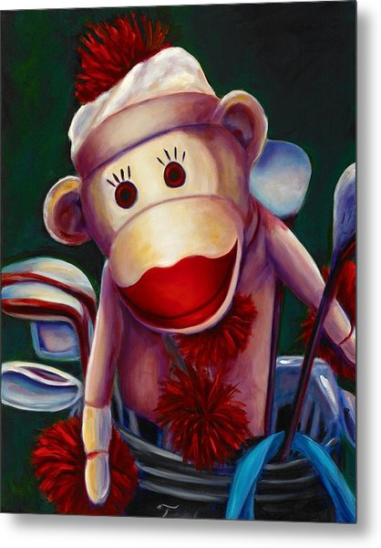 Golfer Made Of Sockies Metal Print
