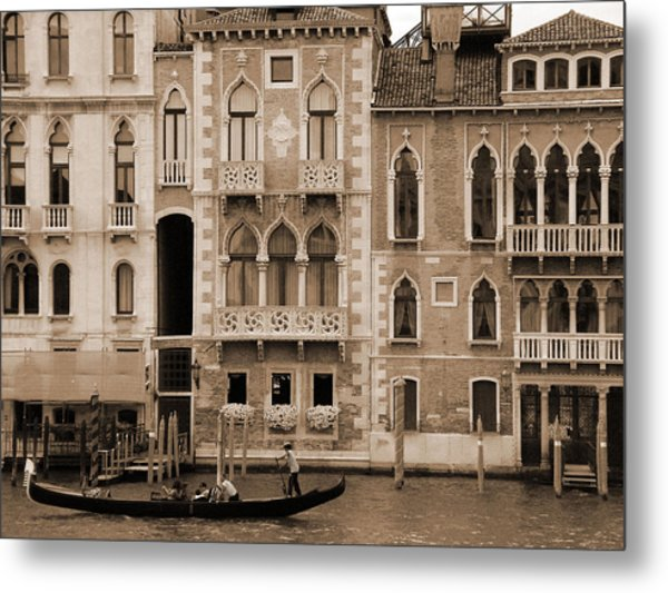 Gondola Crossing Grand Canal Metal Print