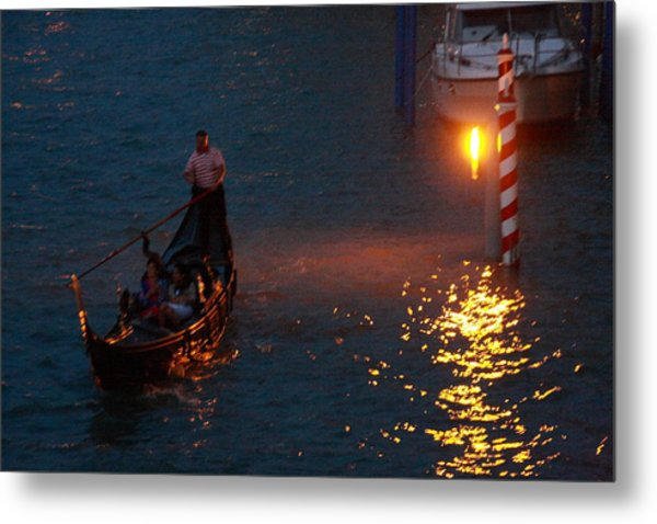 Gondola Ride On Grand Canal At Night Metal Print by Michael Henderson