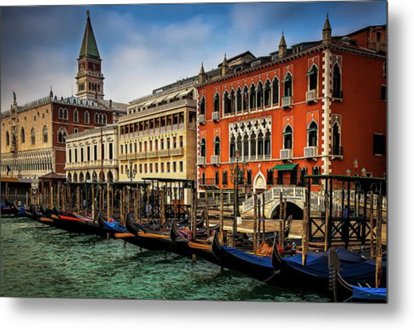 Gondolas At San Marco Metal Print