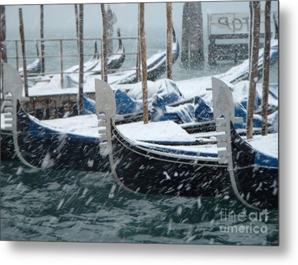 Gondolas In Venice During Snow Storm Metal Print by Michael Henderson
