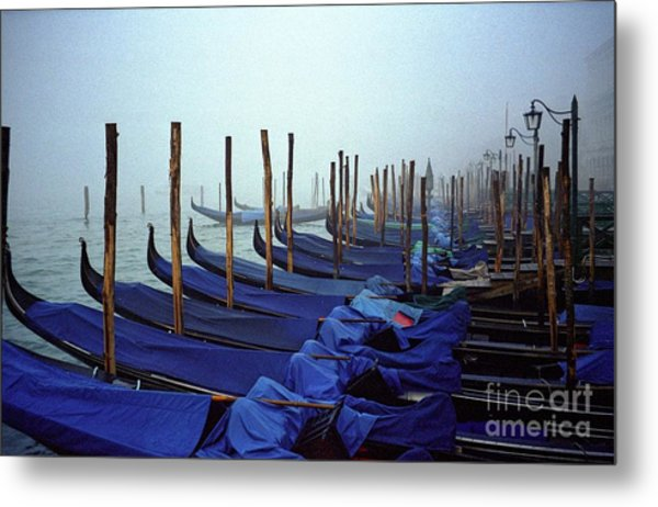 Gondolas In Venice In The Morning Metal Print by Michael Henderson