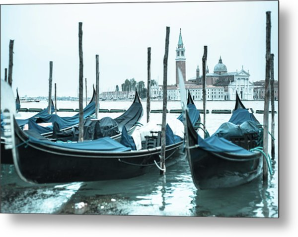 Gondolas On The Venice Lagoon Metal Print