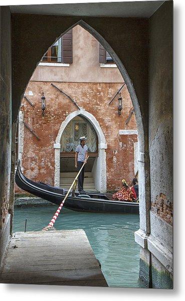 Gondolier In Frame Venice Italy Metal Print