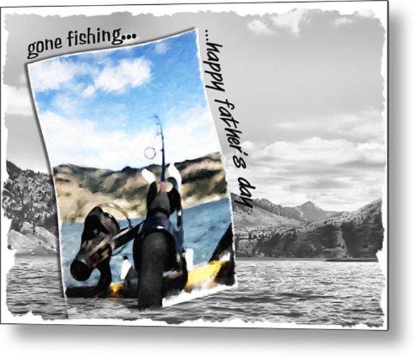 Gone Fishing Father's Day Card Metal Print