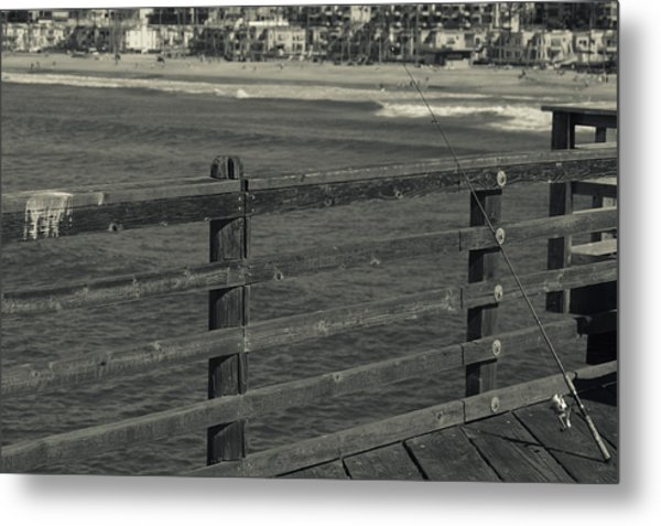 Gone Fishing In Black And White Metal Print