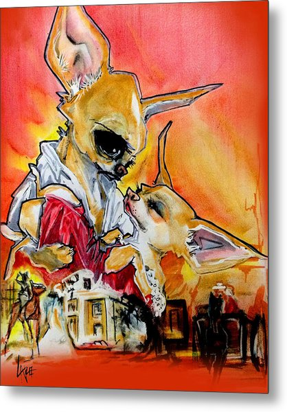 Gone With The Wind Chihuahuas Caricature Art Print Metal Print