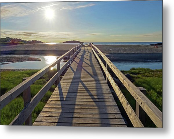 Good Harbor Beach Footbridge Sunny Shadow Metal Print