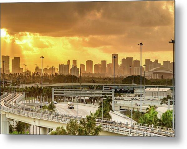 Miami City Sunrise Metal Print