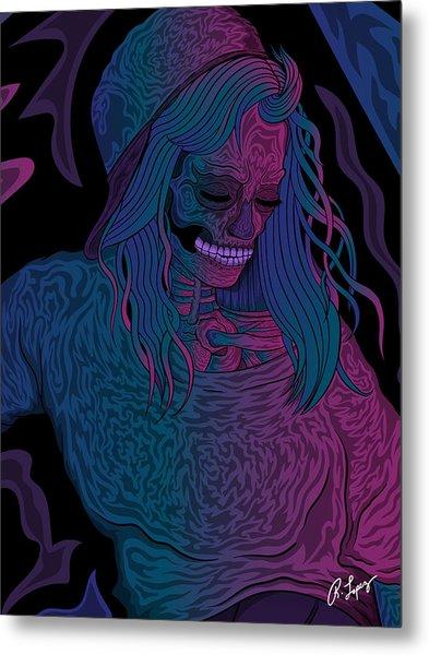 Good Vibes Skelegirl Metal Print