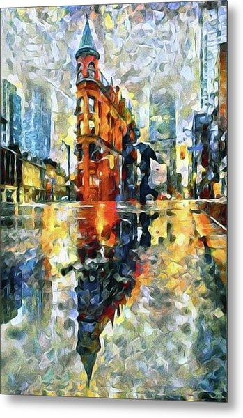 Metal Print featuring the mixed media Gooderham Flatiron Building In The Rain by Susan Maxwell Schmidt