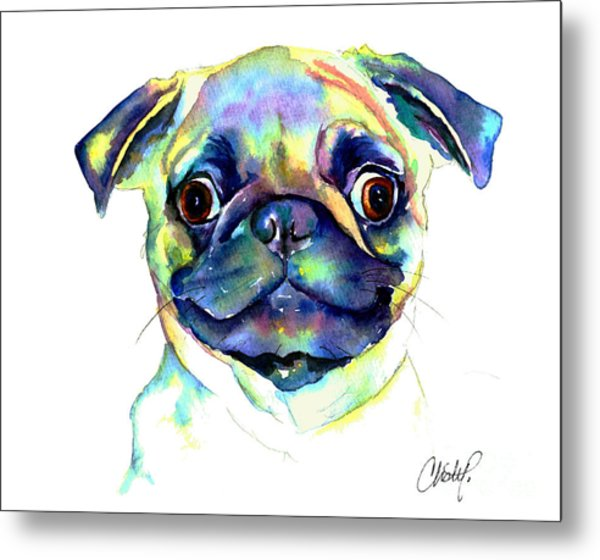 Google Eyed Pug Metal Print