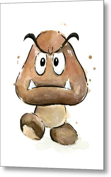 Goomba Watercolor Metal Print