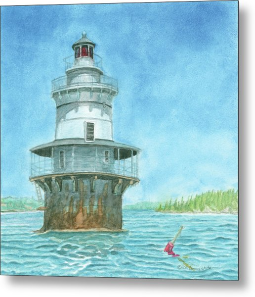 Goose Rocks Light At High Tide Metal Print