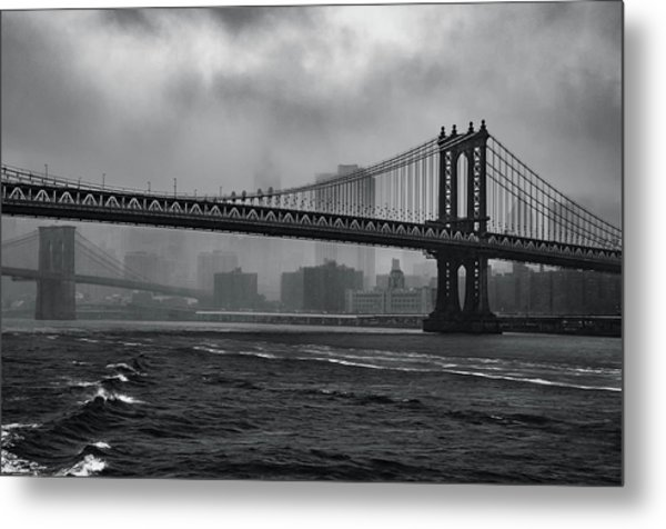 Manhattan Bridge In A Storm Metal Print