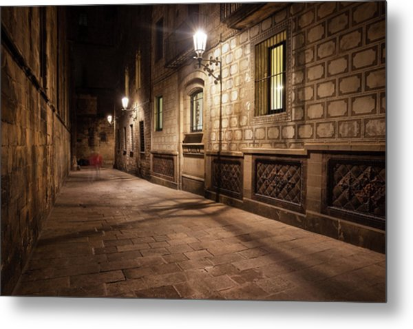 Gothic Quarter Of Barcelona At Night Metal Print by Artur Bogacki