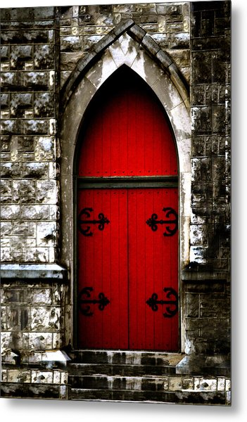 Gothic Red Door Memphis Church Metal Print