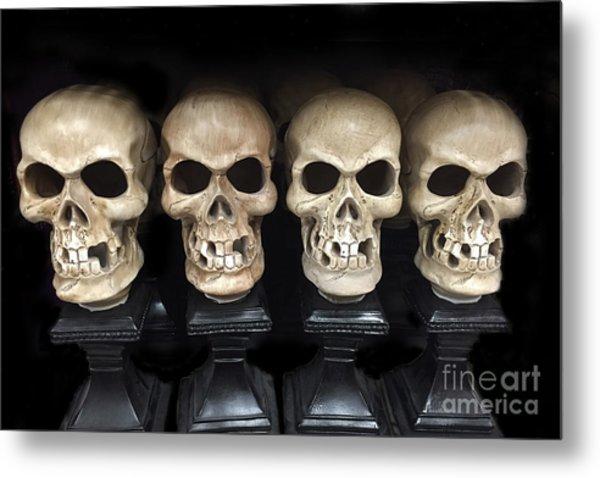 Gothic Skulls Skeleton Art - Halloween Set Of Skulls - Spooky Skeleton Heads  Metal Print