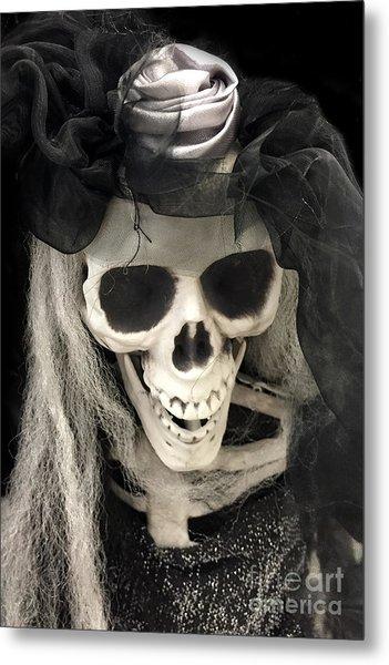 Gothic Spooky Halloween Skeleton Art - Surreal Dark Spooky Skeleton Halloween Art Metal Print