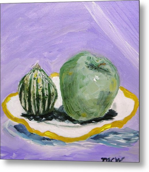 Gourd And Green Apple On Haviland Metal Print by Mary Carol Williams