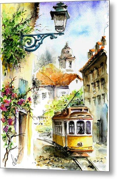 Graca Lisbon Tram Color Metal Print