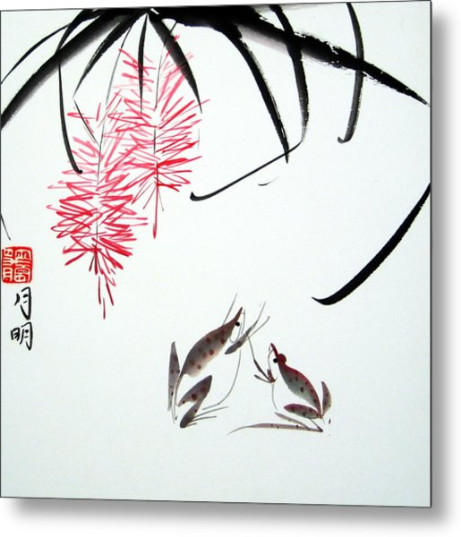 Graceful Frogs Metal Print by Ming Yeung