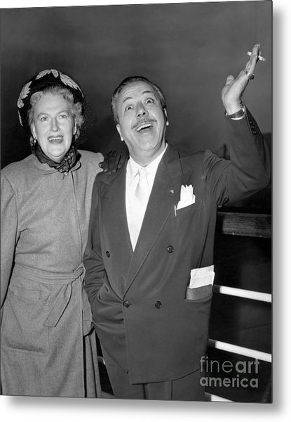 Gracie Fields And Husband, Monty Banks. Metal Print by Barney Stein