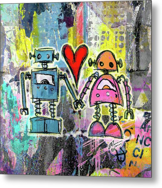 Graffiti Pop Robot Love Metal Print