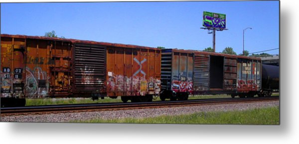Graffiti Train With Billboard Metal Print