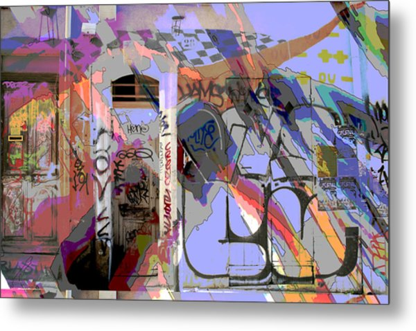 Graffitis Front Door Metal Print by Martine Affre Eisenlohr