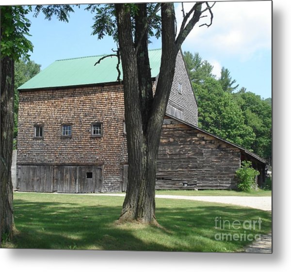 Grammie's Barn Through The Trees Metal Print