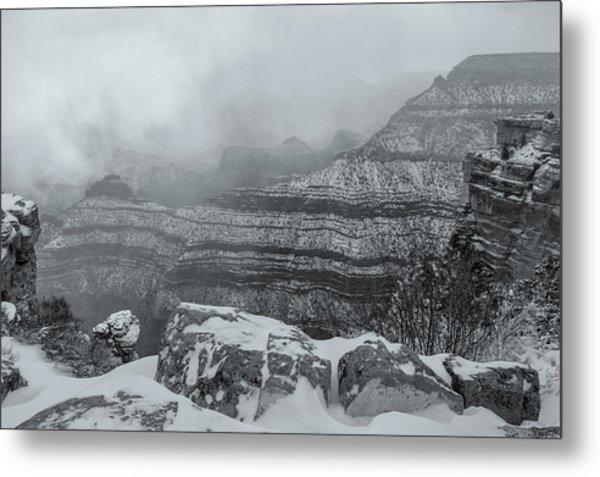 Grand Canyon In The Fog Metal Print