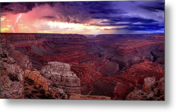 Grand Canyon Lightning Panorama Metal Print by Johnny Adolphson