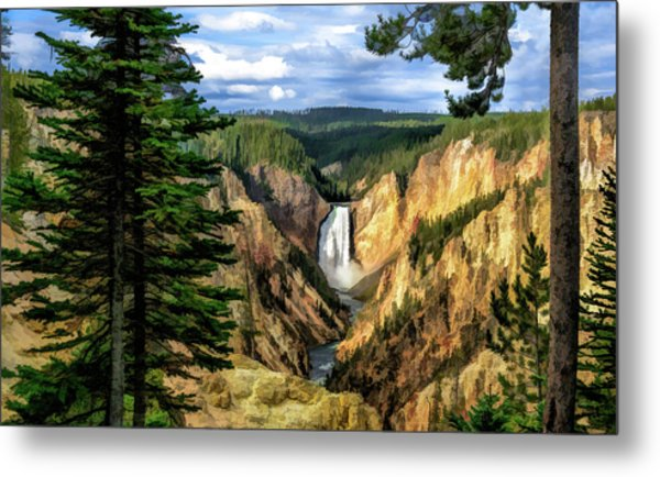 Metal Print featuring the painting Grand Canyon Of The Yellowstone Waterfall by Christopher Arndt