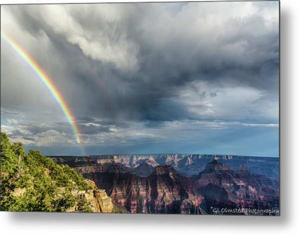 Grand Canyon Stormy Double Rainbow Metal Print