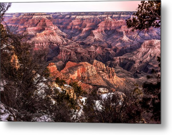 Grand Canyon Winter Sunrise Landscape At Yaki Point Metal Print