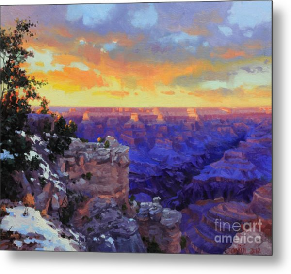Grand Canyon Winter Sunset Metal Print