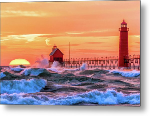 Metal Print featuring the painting Grand Haven Lighthouses by Christopher Arndt