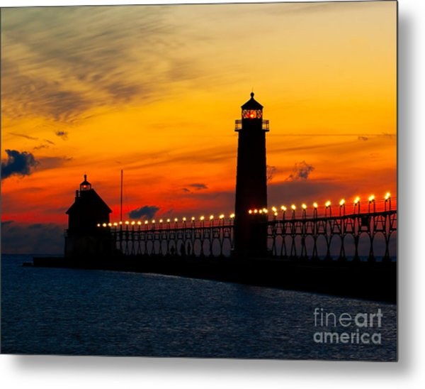 Grand Haven Sunset Metal Print