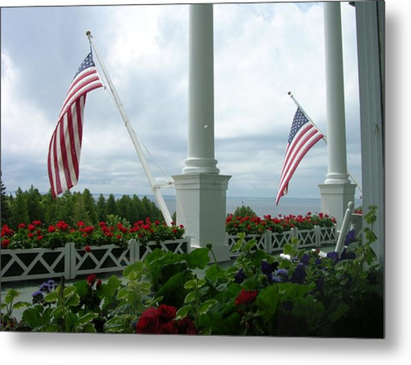Grand Hotel Flags Metal Print
