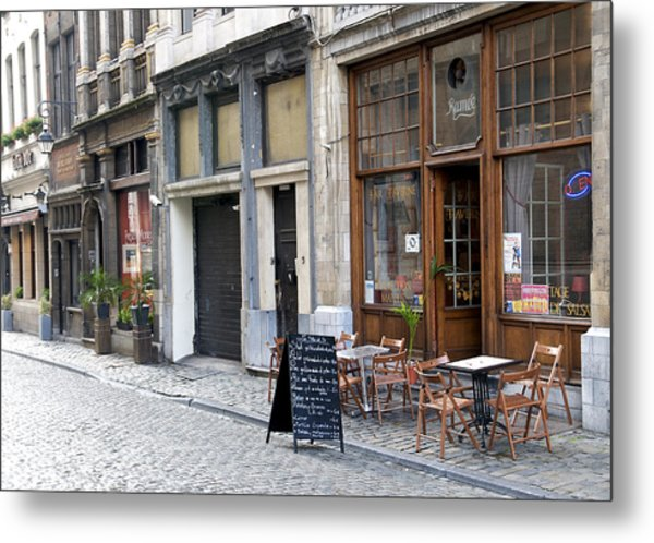 Grand Place Shops Metal Print by Mark Chevalier