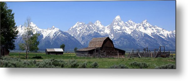 Grand Teton Barn Panarama Metal Print