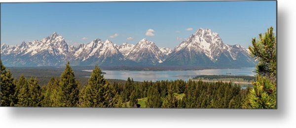 Grand Tetons Over Jackson Lake Panorama Metal Print